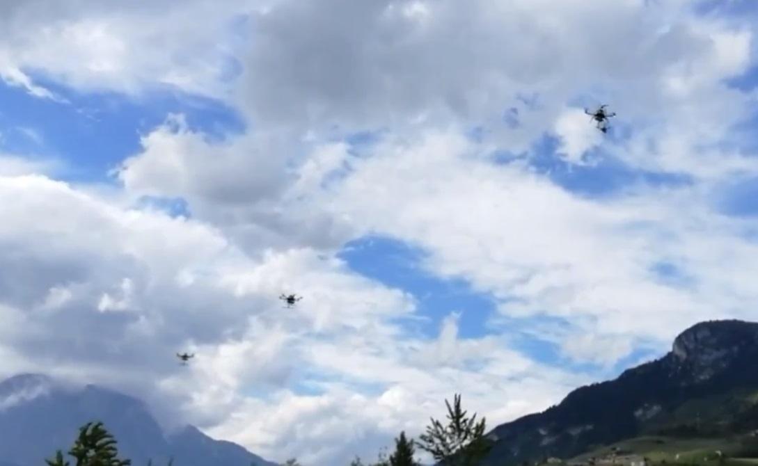 Swarm of drones flying